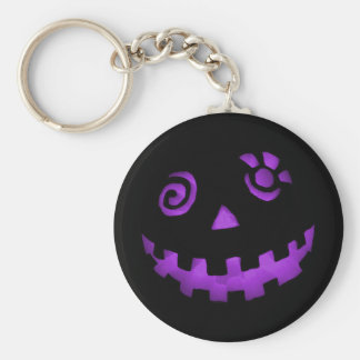 Crazy Jack O Lantern Pumpkin Face Purple Key Ring