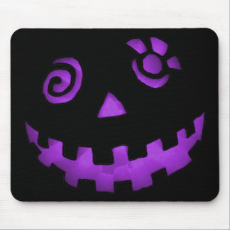 Crazy Jack O Lantern Pumpkin Face Purple Mouse Mat