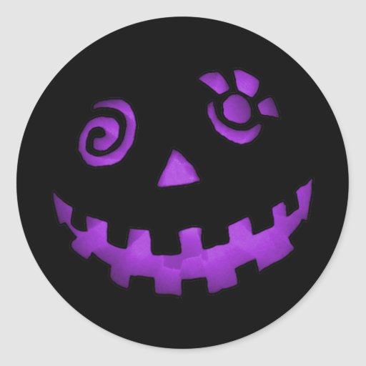 Crazy Jack O Lantern Pumpkin Face Purple Round Sticker