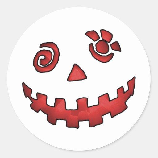 Crazy Jack O Lantern Pumpkin Face Red Round Stickers