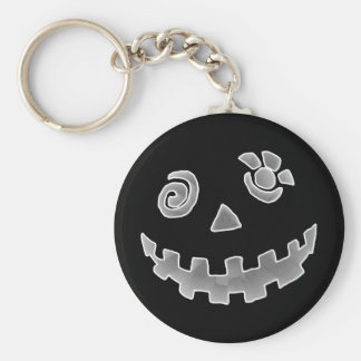 Crazy Jack O Lantern Pumpkin Face White Gray Key Ring