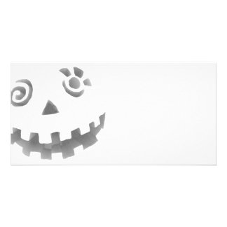 Crazy Jack O Lantern Pumpkin Face White Gray Personalised Photo Card