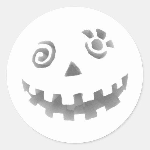 Crazy Jack O Lantern Pumpkin Face White Gray Round Sticker