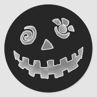 Crazy Jack O Lantern Pumpkin Face White Gray Sticker