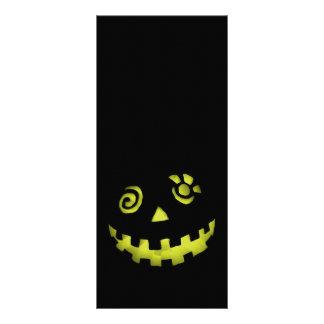 Crazy Jack O Lantern Pumpkin Face Yellow Customised Rack Card
