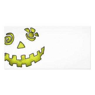 Crazy Jack O Lantern Pumpkin Face Yellow Personalised Photo Card