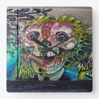 Crazy Kind Of Horror Skull Graffiti Square Wall Clock