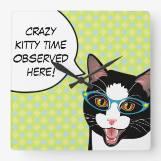 Crazy Kitty Time Kitchen Cat Clock