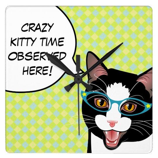 Crazy Kitty Time Kitchen Cat Clock