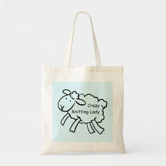Crazy Knitting Lady Bag
