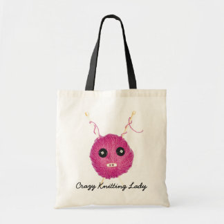 Crazy Knitting Lady Budget Tote Bag