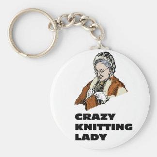 Crazy Knitting Lady Key Ring