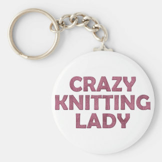 Crazy Knitting Lady Key Ring