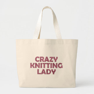 Crazy Knitting Lady Large Tote Bag