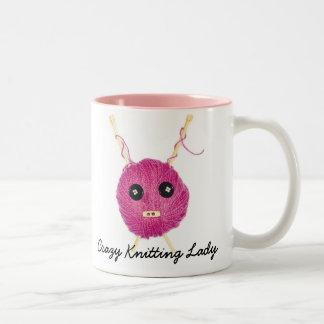 Crazy Knitting Lady Two-Tone Mug
