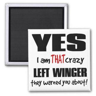 Crazy Left Winger Square Magnet