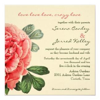 """Crazy Love invitation 5.25"""" Square Invitation Card"""