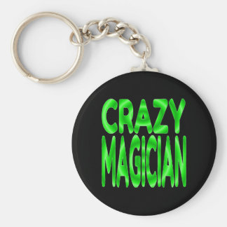Crazy Magician in Green Basic Round Button Key Ring