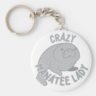 Crazy Manatee Lady Basic Round Button Key Ring