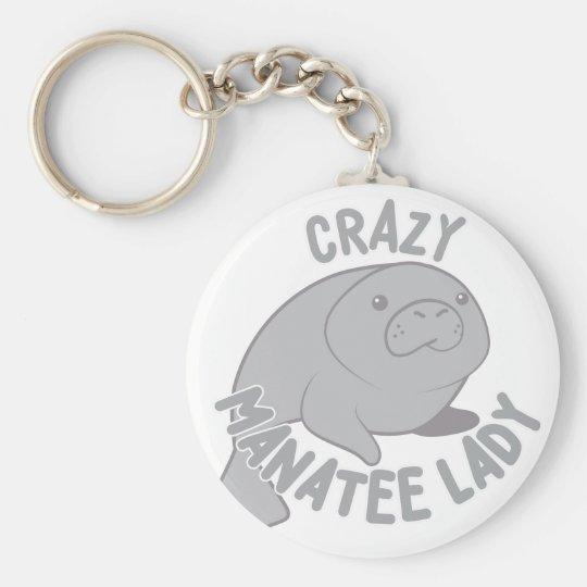 Crazy Manatee Lady Key Ring