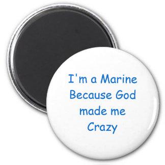 Crazy Marine 6 Cm Round Magnet