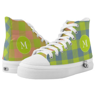 crazy mismatched lime pink blue plaid printed shoes