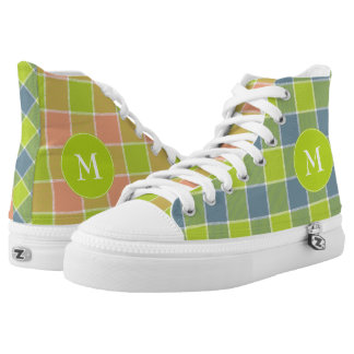 crazy mismatched lime pink blue plaid with white printed shoes