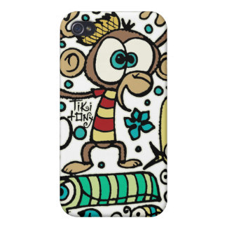 Crazy Monkey and Birds iPhone 4 Covers