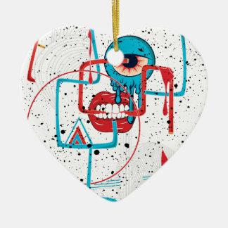 Crazy Monster Face Funny Ceramic Heart Decoration
