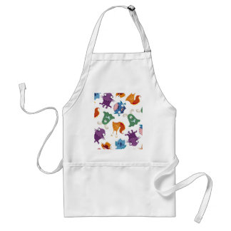 Crazy Monsters Fun Colorful Patterns for Kids Apron