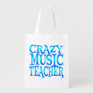 Crazy Music Teacher Reusable Grocery Bag