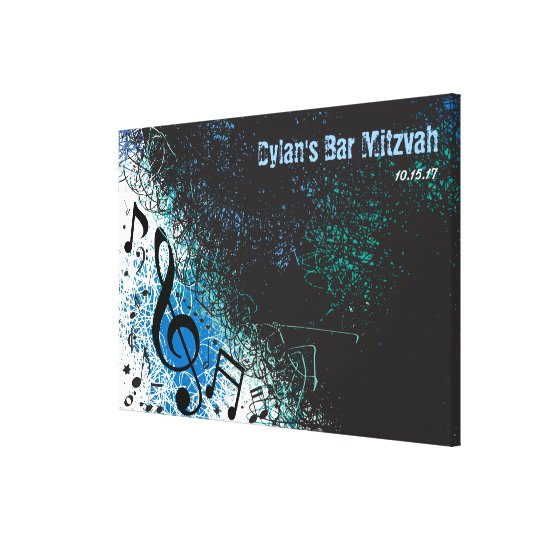 CRAZY MUSICAL NOTES Bar Mitzvah Sign-In Board Canvas