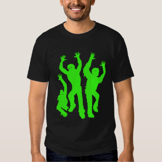 Crazy Neon Green Zombie Silhouettes Tee Shirts