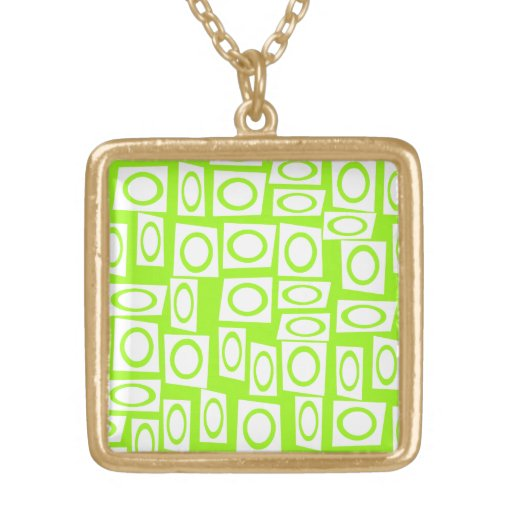 Crazy Neon Lime Green Fun Circle Square Pattern Custom Necklace
