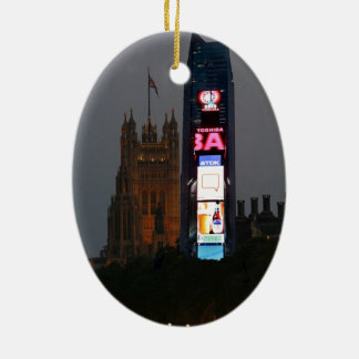 Crazy! New York City meets London Ceramic Oval Decoration