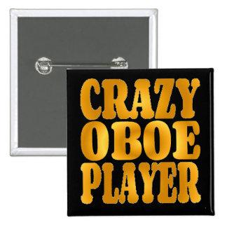 Crazy Oboe Player in Gold 15 Cm Square Badge