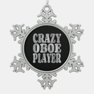 Crazy Oboe Player in Silver Snowflake Pewter Christmas Ornament