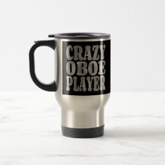 Crazy Oboe Player in Silver Travel Mug