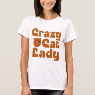 Crazy Orange Tabby Cat Lady T-Shirt