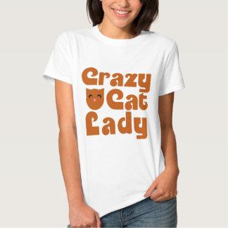 Crazy Orange Tabby Cat Lady T-shirts