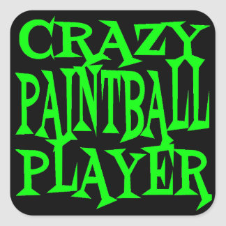 Crazy Paintball Player Square Sticker