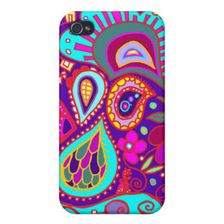 Crazy Paisley in Deep Purple/Blue, aqua, pink CASE Case For iPhone 4