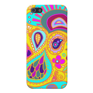 Crazy Paisley in Yellow, turquoise, pink CASE Covers For iPhone 5