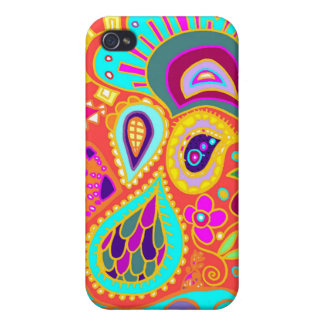 Crazy Paisley Orange, Turquoise, yellow CASE iPhone 4 Case