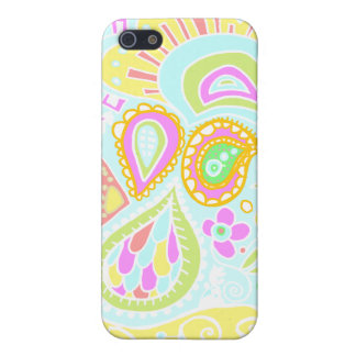 Crazy Paisley - Pale yellow, soft blue & pink CASE iPhone 5 Case