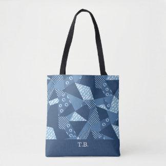 Crazy patchwork blue monogram tote bag