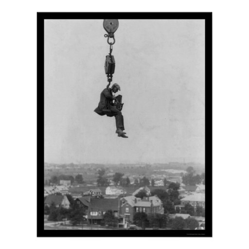 Crazy Photographer on the Hook of a Crane 1918 Print