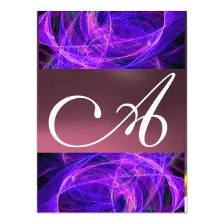 CRAZY PHOTON MONOGRAM purple black 17 Cm X 22 Cm Invitation Card