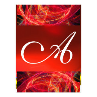 CRAZY PHOTON MONOGRAM red black pink Custom Invitations