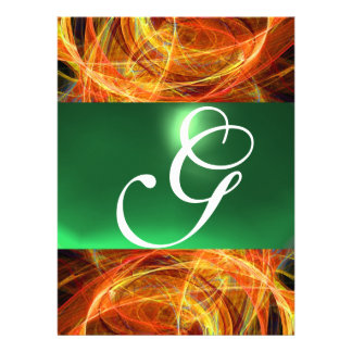 CRAZY PHOTON MONOGRAM yellow emerald green Personalized Invite